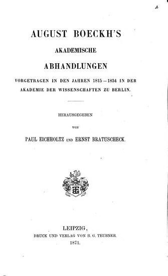 August Boeckhs gesammelte kleine Schriften PDF