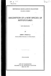 Description of a New Spcies of Hippopotamus, with Four Plates: By Gerrit S. Miller, Jr