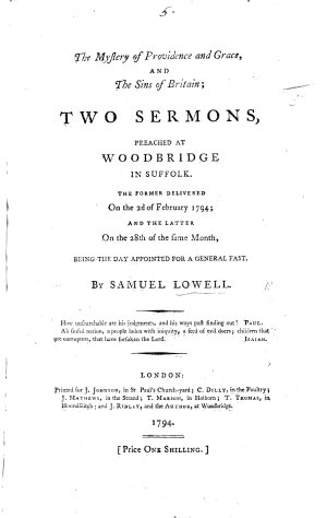 The Mystery of Providence and Grace  and the Sins of Britain  Two Sermons