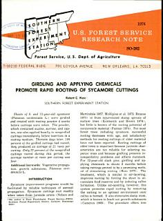 Girdling and applying chemicals promote rapid rooting of sycamore cuttings Book