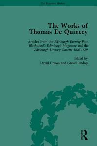 The Works of Thomas De Quincey  Part I Vol 6 PDF