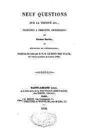 Neuf questions sur la Trinité, etc., proposées à Emanuel Swedenborg et réponses de Swedenborg