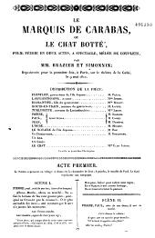 Le Marquis de Carabas ou le Chat botté: folie féérie en deux actes, à spectacle, mêlée de couplets