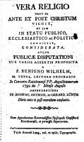 Vera religio  prout ea ante et post Christum viguit  et iam in statu publico  ecclesiastico ac politico consistit PDF