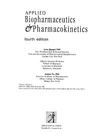 Applied Biopharmaceutics   Pharmacokinetics