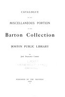Catalogue of the Miscellaneous Portion of the Barton Collection PDF