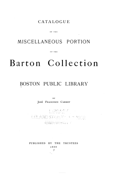 Catalogue of the Miscellaneous Portion of the Barton Collection