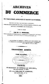 Archives du Commerce ...: Volumes 9 à 10