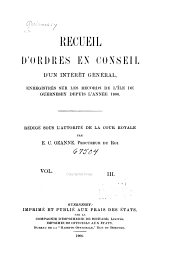 Orders in Council and Other Matters of General Interest Registered on the Records of the Island of Guernsey: Volume 3