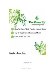 The Come Up Internet Entrepreneur Book PDF