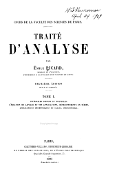 Traité d'analyse: Volume 1