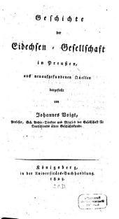Geschichte der Eidechsen-Gesellschaft in Preussen