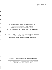 Asymptotic Methods In The Theory Of Linear Differential Equations