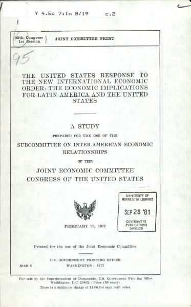 The United States Response to the New International Economic Order PDF