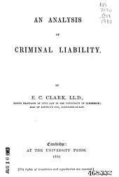 An Analysis of Criminal Liability