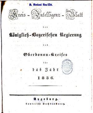 K  niglich Bayersches Intelligenz Blatt f  r den Ober Donau Kreis PDF