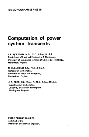 Computation of Power System Transients PDF