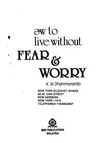 How to Live Without Fear   Worry