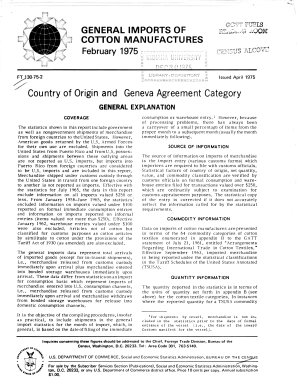 General Imports of Cotton Manufactures  Country of Origin and Geneva Agreement Category
