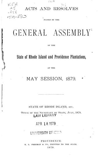 Acts and Resolves Passed by the General Assembly PDF
