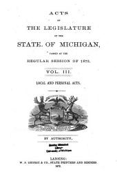 Public and Local Acts of the Legislature of the State of Michigan: Volume 3