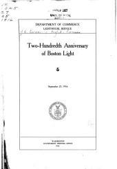 Two-hundredth Anniversary of Boston Light: September 25, 1916, Volume 9