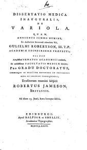Dissertatio medica inauguralis de variola ...