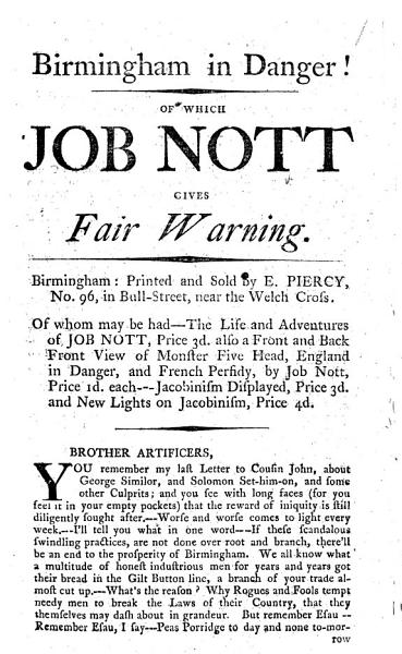 Download Birmingham in Danger  of which Job Nott Gives Fair Warning Book