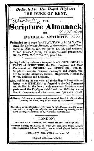 The Scripture Almanack Or  Infidel s Antidote  Etc  Fourth Edition