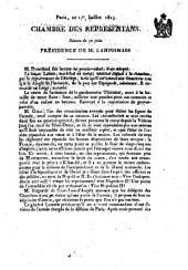 Chambre des Représentans ... Séance du 24 juin 1815. (-séance du 7 juillet.) [Proceedings.]