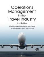 Operations Management in the Travel Industry  2nd Edition PDF