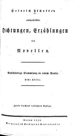 Heinrich Zschokke s ausgew  hlte Dichtungen  Erz  hlungen und Novellen PDF
