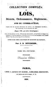 Collection complète des lois, décrets d'intérét général, traités interanationaux, arrêtés, circulaires, instructions, etc: Volumes19à20