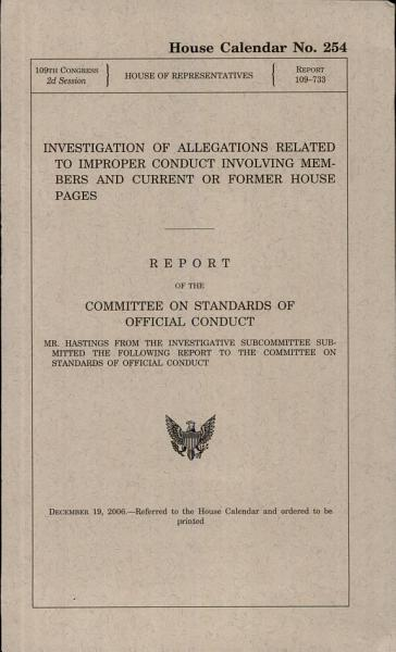 Investigation Of Allegations Related To Improper Conduct Involving Members And Current Or Former House Pages