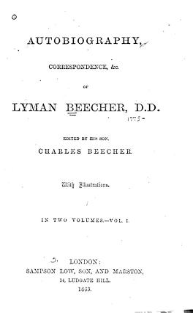 Autobiography  Correspondence   c  of Lyman Beecher PDF
