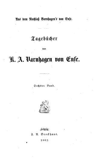 Tageb  cher von K A  Varnhagen von Ense PDF