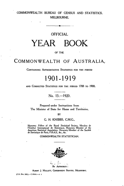 Official Year Book of the Commonwealth of Australia No. 13 - 1920