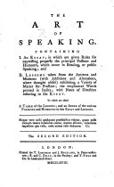 The Art of Speaking ... The second edition with additions, &c. By James Burgh. Edited by Samuel Whyte