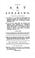 The Art of Speaking     The second edition with additions   c  By James Burgh  Edited by Samuel Whyte PDF