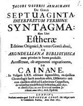 De Graeca septuaginta interpretum versione syntagma
