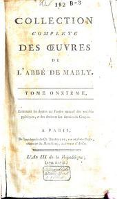 Collection complète des oeuvres de l'abbé de Mably: Volume11