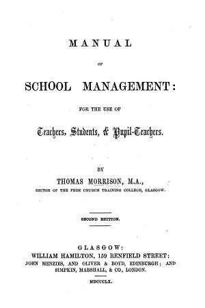 Manual of School Management     Second edition