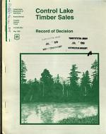 Tongass National Forest (N.F.), Control Lake Timber Sale, Prince of Wales Island