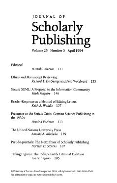 Journal of Scholarly Publishing PDF