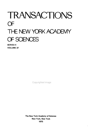 Transactions of the New York Academy of Sciences PDF