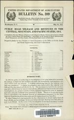 Public Road Mileage and Revenues in the Central, Mountain, and Pacific States, 1914