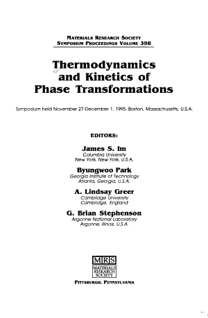 Thermodynamics and kinetics of phase transformations