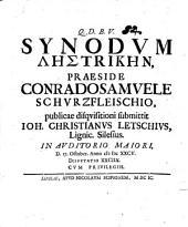 Diss. qua synodum lēstrikēn disquisitioni submittit