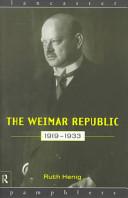 The Weimar Republic, 1919-1933