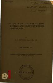 On Two Greek Inscriptions, from Kamiros and Ialysos, in Rhodes, Respectively